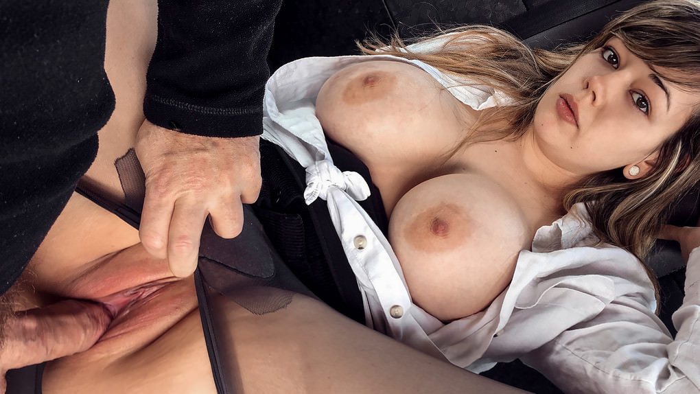 FakeTaxi :  Busty passenger gives good tit wank –  Madison Stuart